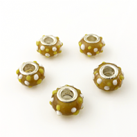 10 Lampwork Glass 14x9mm European Charm Beads Yellow